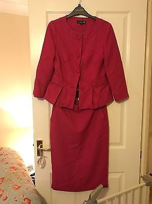Vintage Hot Pink Pencil Skirt And Jacket Suit.: Jackie Kennedy Style. Size 8