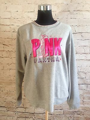 Vintage Pink Panther Fleece Sweat Shirt Sweater Embroidered Size Large L Pink