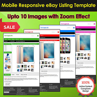 eBay Listing Template Auction HTML Professional Mobile Responsive Design 2017