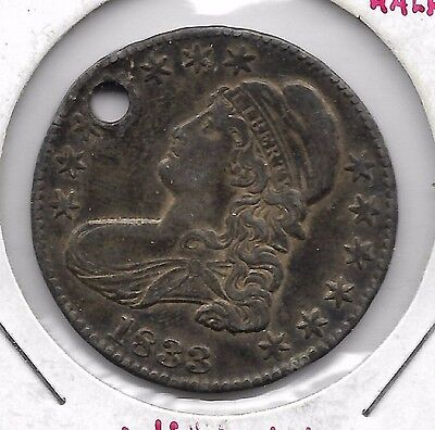 1833 Capped Bust Half Dollar VXF details Liberty visible Holed but NICE