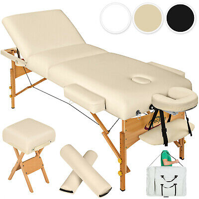 Massagetisch Massagebank Massageliege + Hocker +2 Lagerungsrollen 10cm Polster