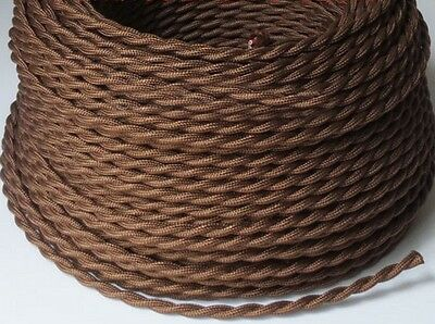 Brown Cloth Cover Twisted Wire Vintage Rewire Kit Lamp