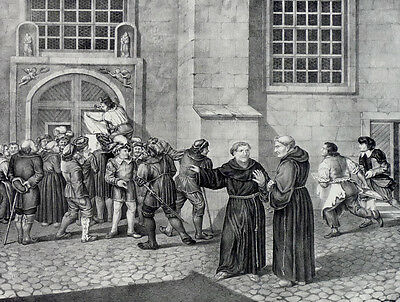 "MARTIN LUTHER - ""Anfang der Reformation"" - Lithographie um 1830"