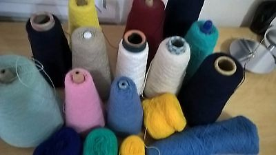 Joblot II machine kniting yarn 1ply part cones mixed ply & colours 2.19kg