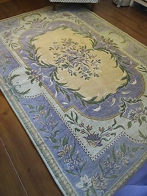 LAURA ASHLEY RUG shabby CHATEAU chic DOCHERTY French AUBUSSON ROSE TAPESTRY RARE