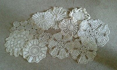 VINTAGE Crocheted Doilies x 11