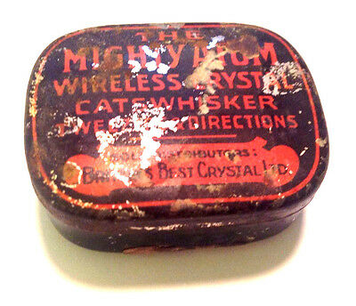 Vintage The Mighty Atom Wireless Crystal Cat Whisker Tin with Tweezers 1920ies