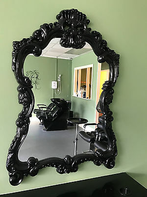 Large Black Ornate Framed Hair Salon Mirrors