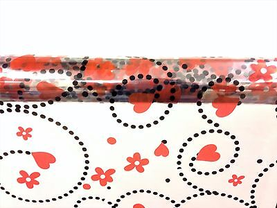 Heart Pattern Cellophane Wrap Swirling Hearts + Flowers 1M - 100 Meters -