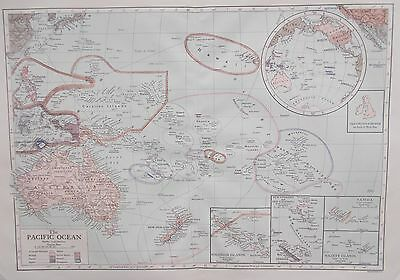 Map of the Pacific Ocean 1911. Encyclopedia Britannica. AUSTRALIA. NEW ZEALAND