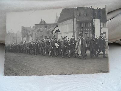 military postcard foreign infantry troops  soldiers on the march