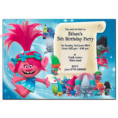 i74 Trolls; Personalised Invitations or Thank you cards; can be made for any age