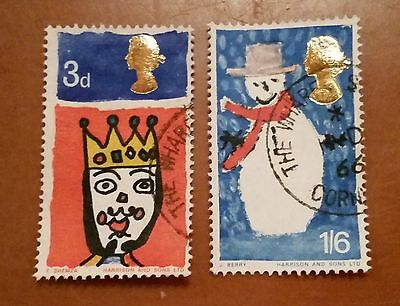 GB QEII commemorative stamps (SG 713-714) Christmas. 1966. set of 2 ex FDC