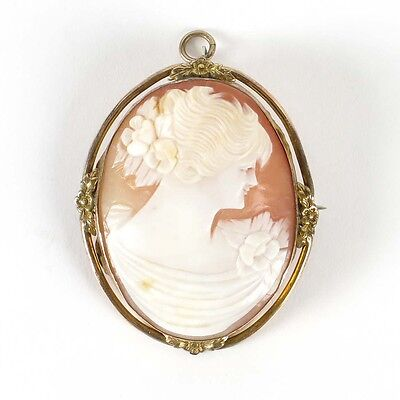 Antique shell cameo brooch vtg 10K gold filled pendant pin carved Victorian lady