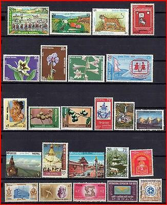 NEPAL = COLLECTION of 24 mostly MNH STAMPS FLOWERS, ANIMALS   (K-J18)
