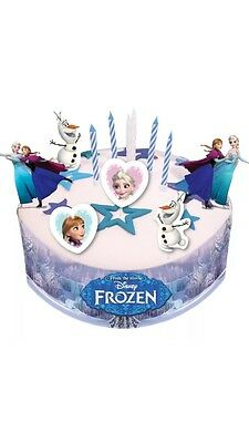 DISNEY FROZEN CAKE DECORATING SET with PICKS, CANDLES and HOLDERS