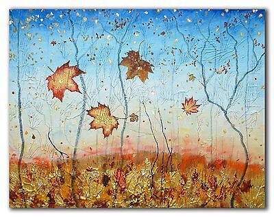 Original painting mixed media art by Cyndy Mabon's Wood Autumn Trees