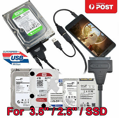 """Speed USB3.0 to 22 Pin SATA 2.5"""" 3.5""""  III SSD Hard Drive Disk HDD Adapter Cable"""