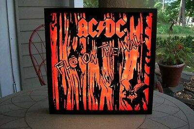 """Shadow Box AC/DC Fly On The Wall 12"""" Vinyl Art 100 Red LEDs Vinyl Decal Sticker"""
