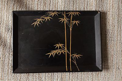 Japanese Meiji Antique Wood Lacquer Gold Hawk Makie Big Tray