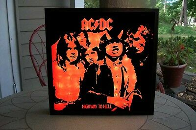 """Shadow Box AC/DC Highway To Hell 12"""" Vinyl Art 100 Red LEDs Vinyl Decal Sticker"""