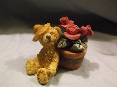 Lincolnshire The Gift Collection Teddy Bear With Rose Flower Pot Figurine