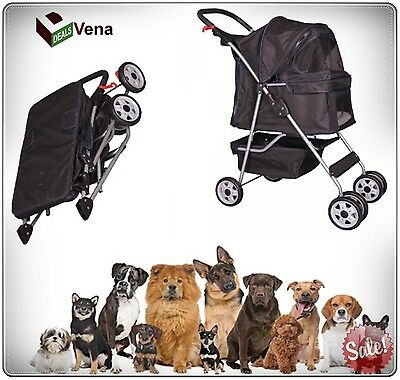 Double Dog Strollers Travel Small Pet Puppy Wide 4 Wheels Folding Carrier Black