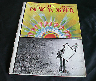 THE NEW YORKER MAGAZINE. Issue March 18 th. 1974. Ronald Searle Cover.