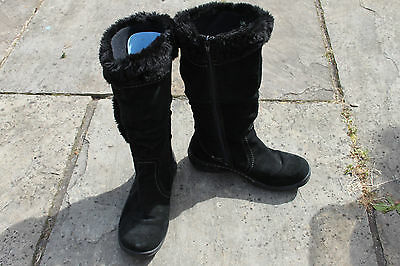 Ladies Black Genuine Suede Earth Spirit Boots Size 38 UK 5 Leather Shoes