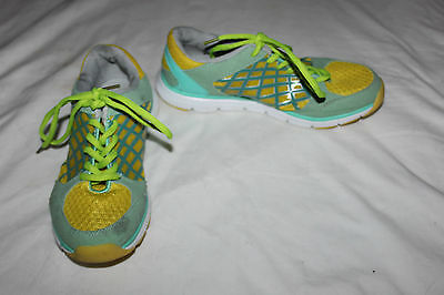 Ladies Green & Yellow Trainers Size 38 UK 5 Running Power Sports Shoes