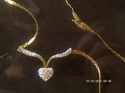 Vintage Attwood & Sawyer Crystal Heart Gold Plated Necklace, Fancy Clasp
