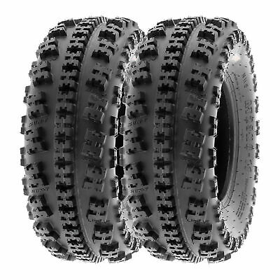 SunF All Terrain ATV Tires 21x7-10 21x7x10 AT Race 6 PR A027 Tubeless [Set of 2]