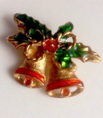 Holiday Christmas Bells Estate Jewelry Brooch