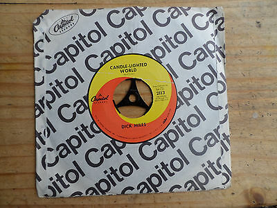"""Dick Miles Candle-Lighted World 7"""" Single Capitol 1968 Ex Condition.."""