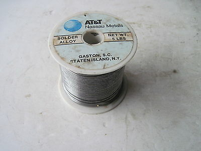 Vintage AT & T Nassau .094 Dia. Rosin Solder Alloy 5 Lbs. Roll Made In USA