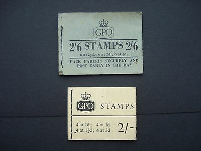 2 Stamp Booklets Empty except for 2 x 1/2d Orange in 2/- booklet