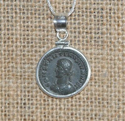 Roman Emperor Constantine Authentic Ancient Coin 925 Sterling Silver Necklace