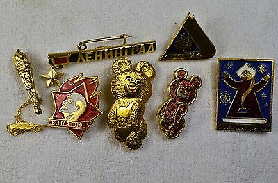 Lot of 7 Vintage Pins Russian Olympic Bear USSR New Years Lenin