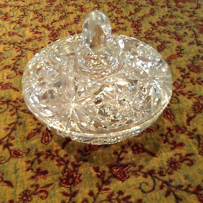 Heavy Lidded Vintage Cut Glass Round Serving Dish