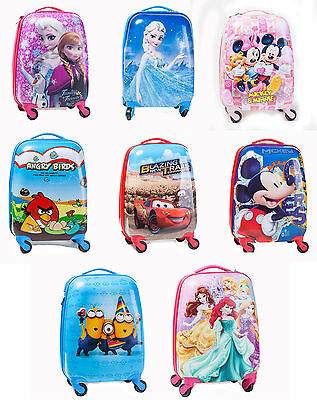Kids Holiday Travel Hard Shell Suitcase Hand Luggage Trolley Bag Disney Wheels