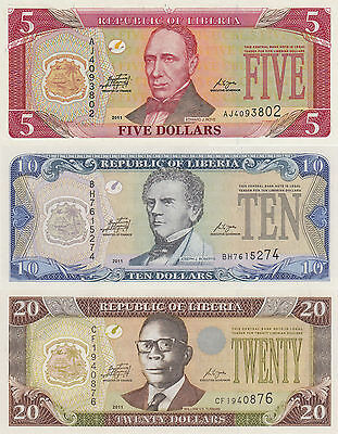 Liberia 3 Note Set: 5 to 20 Dollars (2011) p26f, 27f and 28f UNC UNC