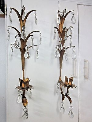 Pair Gold Gilt Tole Sconces Italian Regency Crystal Prisms