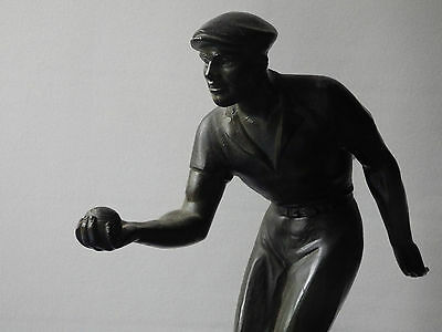 Boules Game Sculpture Antique marble Statue. bocce bronze spelter