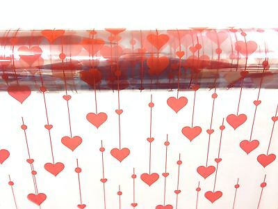 Heart Pattern Cellophane Wrap Red Hanging Hearts 1M - 100 Meters -