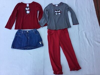 Gymboree size 3 winter penguin outfits, shirts, skirt and pants