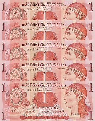 LOT, Honduras 1 Lempira (6.5.2010) p89b x 5 Pieces UNC