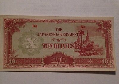 The Japanese Government - Ten 10 Rupees, Wwii Banknote