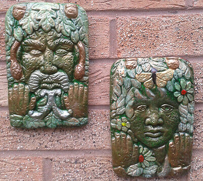 Pair of GreenMan Garden Wall Plaques - Hand Cast & Painted  PAGAN WICCAN