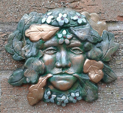 Floral GreenLady GreenMan Garden Wall Plaques - Hand Cast & Painted PAGAN WICCAN