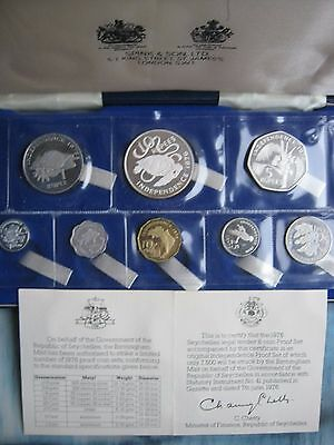 Seychelles Independence set of 8 coins: 1 cent - 10 rupees with 2 silver coins